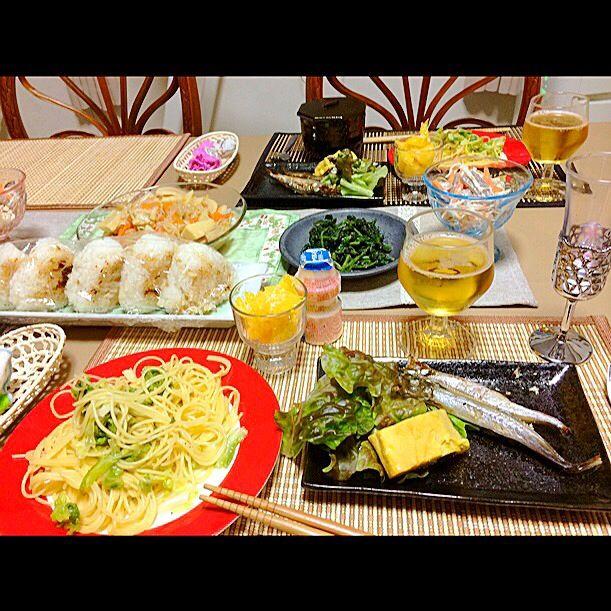 ペペロンチーノ大好き♡ - 13件のもぐもぐ - キャベツのペペロンチーノ、ししゃも、卵焼き、焼きおにぎり by harufuru3578