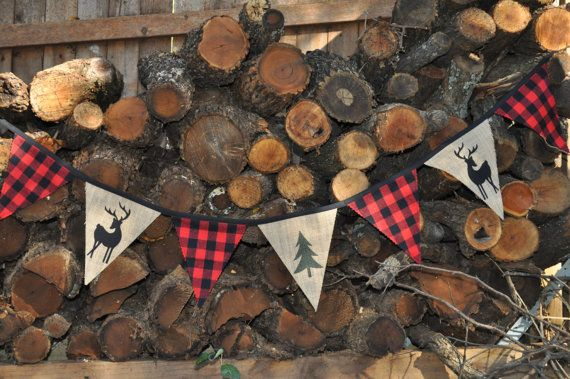 Lumberjack/woodland/camping party fabric pennant flag banner, black/red buffalo plaid flannel & burlap with deers, birthday decor/photo prop