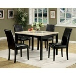 """5 pc Portland faux white and beige marble dining table set with leather like vinyl upholstered chairs. This set includes the table with a faux marble top and 4 chairs upholstered with a leather like vinyl upholstery. Table measures 47"""" x 36"""" ."""