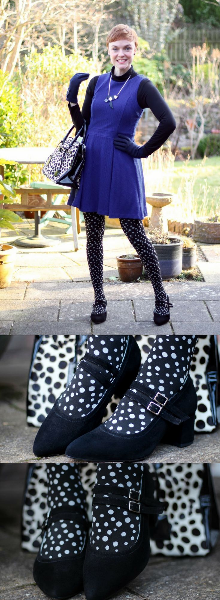 The beautiful blogger Samantha of www.fakefabulous.com wearing Calla shoes for bunions. These Mary Jane block heel court shoes look so pretty paired with the polka dot tights!