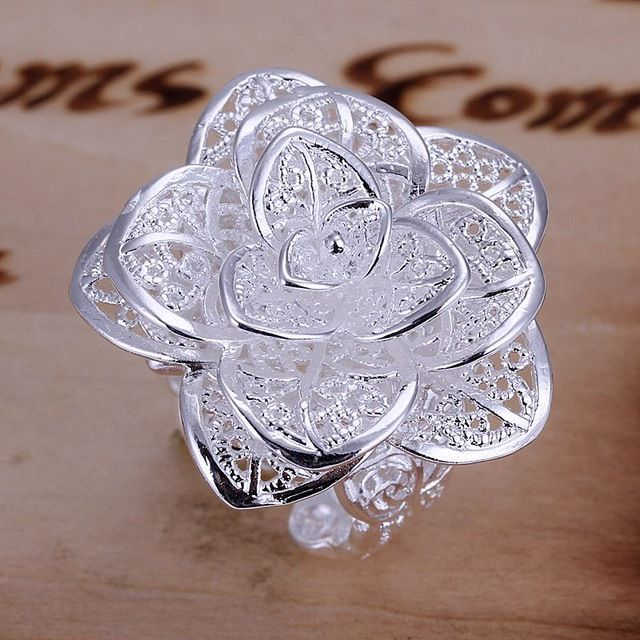 Be special: New Arrival Silver Rose Flower Ring Fashion Three ...