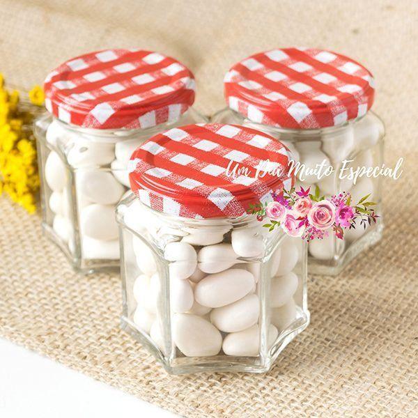 pote de vidro sextavado tampa xadrez vermelho lembrancinhas casamento decoração loja virtual compre online são paulo - Lembrancinhas e Decoração Romântica para Festas | Um Dia Muito Especial
