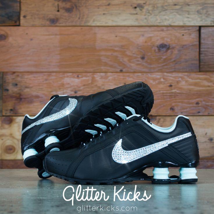 Nike Shox Current Glitter Kicks Running Shoes Black/Tiffany
