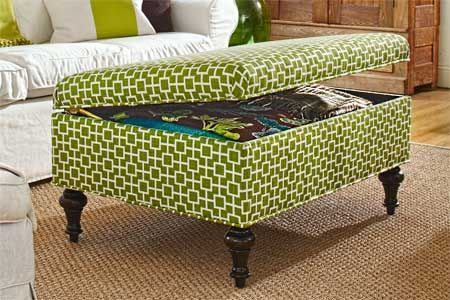 How to Build an Upholstered Storage Ottoman - needs plywood, foam, and fabric.