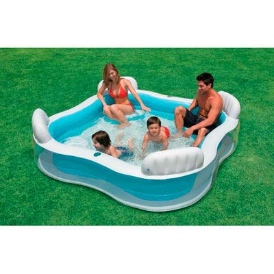 Intex alberca inflable con asientos 03456475 juguetes - Intex swim center family lounge pool blue ...