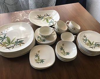 Vintage Franciscan Style Square Dinner Set, Set of 32 Dishes