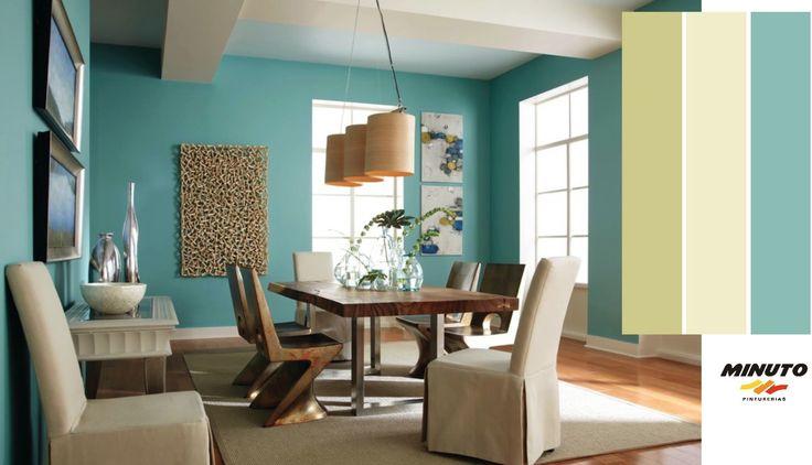 Minuto Pinturerias te invita a conocer este color turquesa con un toque de gris, que integra la carta de colores de tendencias 2014.   En esta imagen, se puede ver que a pesar de que el color marino es muy vibrante, tiene una calidad ligeramente apagada , que le permite ser presentado en las cuatro paredes de una habitación sin abrumar el espacio de color.  Es una paleta fresca y moderna entre azules frescos y verdes combinados con los neutrales suaves y cálidos.