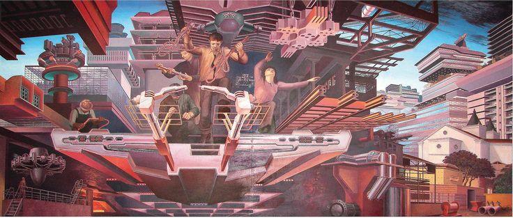 Julio Escámez. CONSTRUCCIÓN DE LA CIUDAD DEL FUTURO, 1981.  Fuente: ¨Escuela de Arte y Comunicación Visual¨ (2013) Heredia, CR: EUNA    *Chileno, 40 viviendo en CR