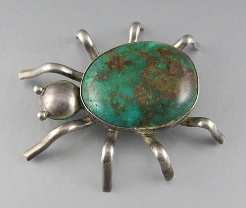 Native American Sterling and Turquoise Spider Pin Brooch: Native American Jewelry, Creepy Spiders, American Indian, Turquoi Jewelry, American Sterling, Spiders Pin, Pin Brooches, Spiders Web, Native Americanjewelri