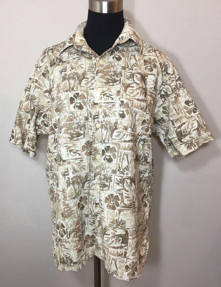 Club Room Hawaiian Shirt Tan Linen Beige Floral Vacation Resort Mens Size M  | eBay