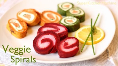 "veggie ""pancake"" spirals - in the thermomix with veggie puree and filling of your choice."