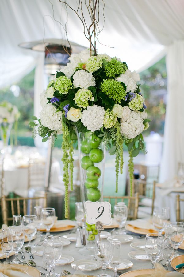 Tall Centerpieces Apple Wedding
