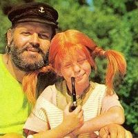 Pippi Longstocking with her father as well as her father's pipe!
