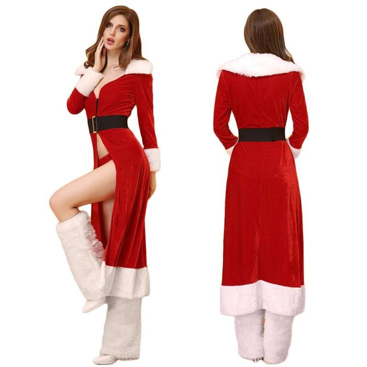 Miss Santa Claus Christmas Robe With Black Belt //Price: $59.05 & FREE Shipping //     }
