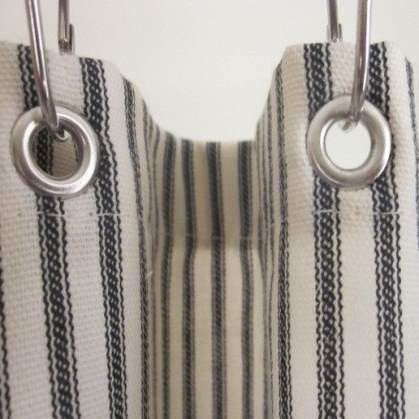 Black Ticking Stripe Shower Curtain