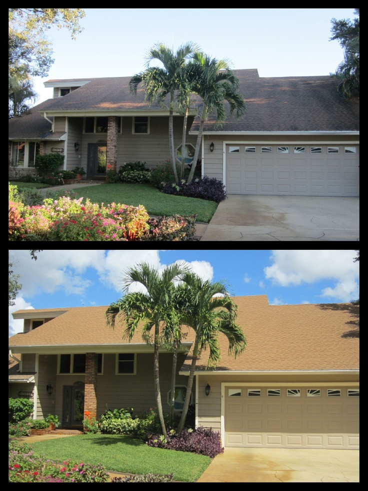 Before And After Of A Roof Cleaning Job In The Orlando Area. No Pressure  Roof