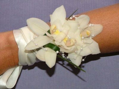 White Orchids- Floral Wrist Corsage <3