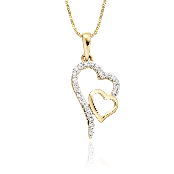 This elegant yellow gold diamond pendant has 0.12ct diamonds. The pendant features two interlocking hearts one beautifully polished and the other encrusted with round brilliant cut diamonds. This necklace is made in 9K yellow gold and is available complete with a beautiful mirror trace chain or if you already have a chain then you have the option to buy just the pendant.