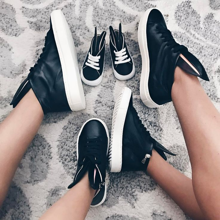 Mom, kid and baby sneakers in one