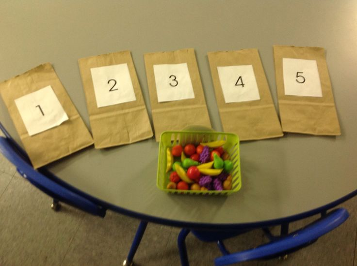 Math: Have the students place the pieces of fruit in the bag.