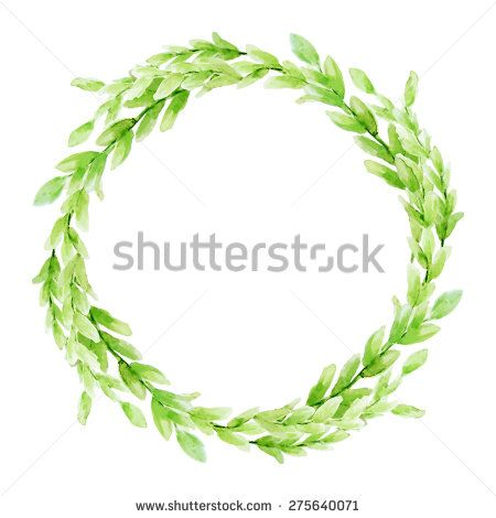 Vector leaf watercolor wreath. Template for wedding ...