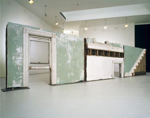 "Gordon Matta-Clark, ""Bingo"", 1974 Three building fragments: painted wood, metal, plaster, and glass"
