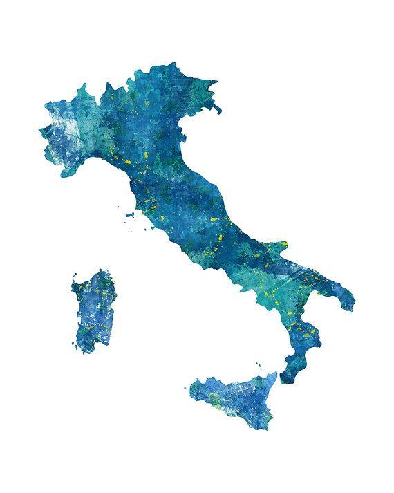 Italien Landkarte Grafik Aquarell Italien Karte von aenaondesign