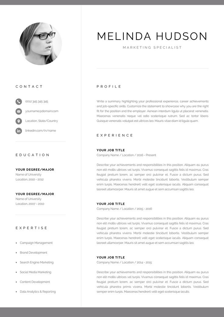 Cv Template With Photo Professional Resume Template For Word And Mac Pages Modern Cv Design 1 2 Page Resume Cover Letter Melinda Modele De Cv Creatif Modele De Cv Professionnel Modele Cv