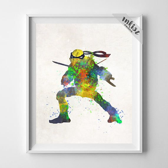 Teenage Mutant Print, Ninja Turtles Print, Leonardo Print, Boy Room Decor, Nursery Art, Playroom Art, Watercolor Art, Type 1, Wall Art. PRICES FROM $9.95. CLICK PHOTO FOR DETAILS. #inkistprints #watercolor #watercolour #giftforher #homedecor #wallart #walldecor #poster #print #christmas #christmasgift #weddinggift #nurserydecor #mothersdaygift #fathersdaygift #babygift #valentinesdaygift #painting #dorm #decor #livingroom #bedroom