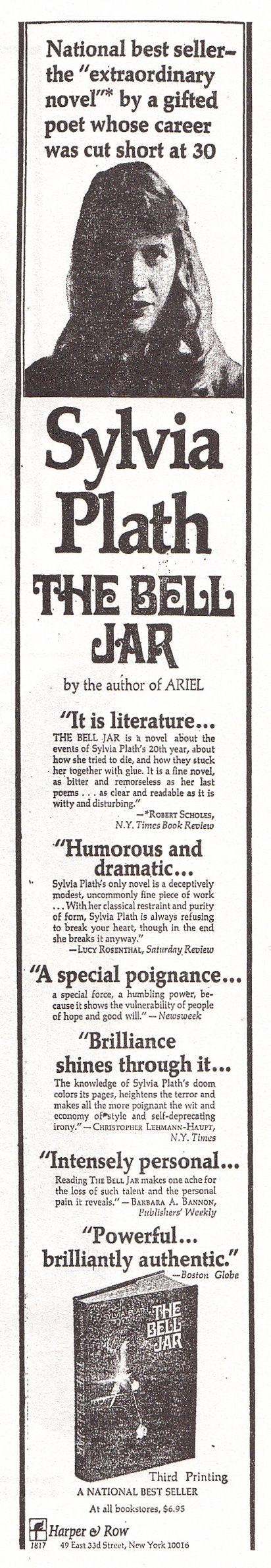 Sylvia Plath's fictionalized account of psychotherapy and hospitalization at the Very Best Places in the postwar US [from The First Ads for Famous Books]