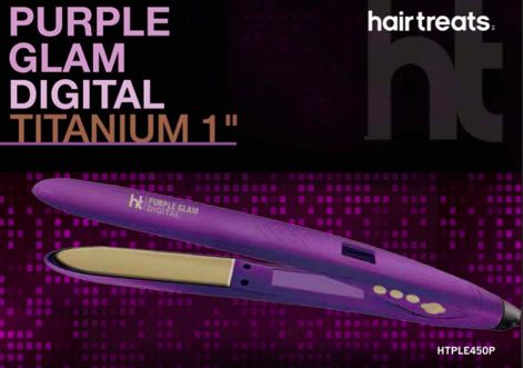 """FLAT IRON  HairTreats limited editionPurple Glam has a 1"""" Golden Titanium plates, equipped with a revolutionary ergonomic shape and narrow tip to get close to the roots.  - Digital temperature control with a wide range of heat options (265F-445F) - 8ft tangle free cord with 360° swivel.   LIMITED EDITION  COMING SOON   Shop Hair Treats @ http://www.beautyroute.com"""