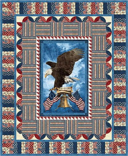 Stonehenge Old Glory Stars and Stripes - One Stamp Free Quilt Pattern