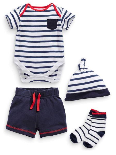 【現貨】英國代購NEXT2015夏男寶條紋短袖T恤+褲子+帽子+襪 套裝