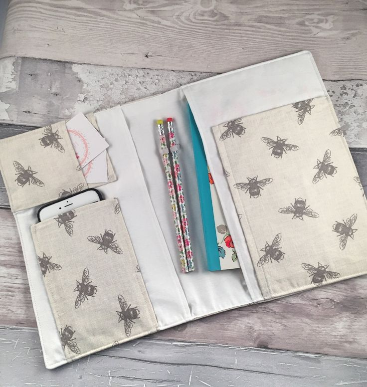 On The Go Organizer, Fabric Planner, Notbook Cover, Notebook SlipCover, Planner Organiser by NallasBoutique on Etsy