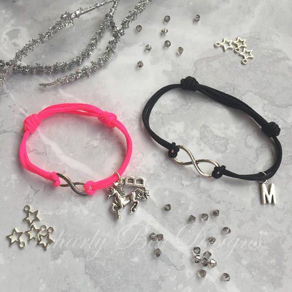 Couples Bracelets Personalised Unicorn Stocking Filler Pink