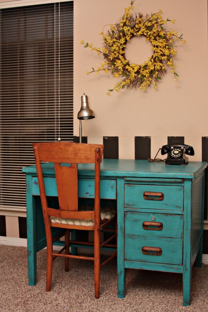Turquoise distressed desk