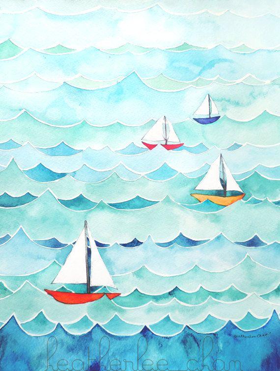 Sailboats with Waves Watercolor Painting Print