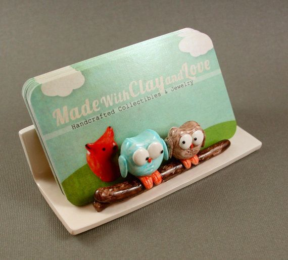Hand Sculpted Business Card Holder - Little Owls In Blue And Mocha by MadeWithClayAndLove: