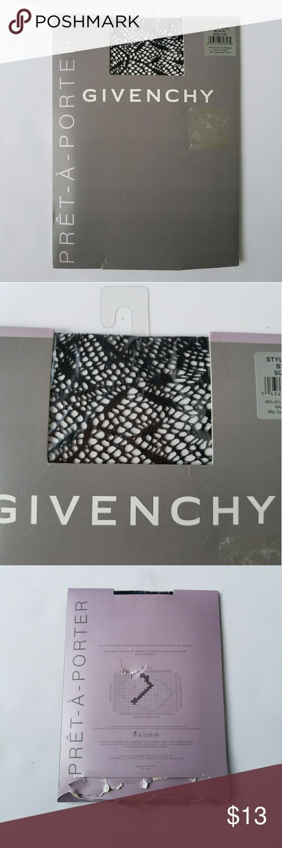 PRICE DROP Gyvenchi Patterned Black Stockings Gyvenchi Tights Pret A Porter Patterned Black Stockings. Size C/ D. Great with a black leather skirt or black romper/ shorts to show off stocking.  NEW Givenchy Accessories Hosiery & Socks