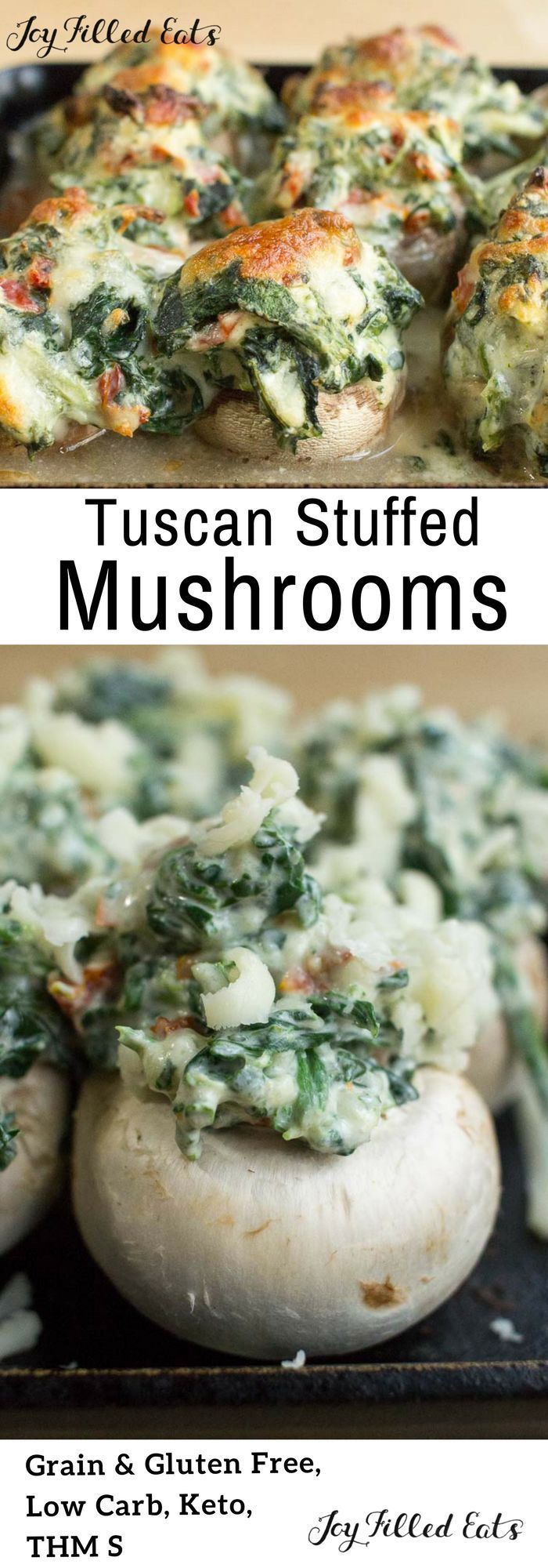 I love a good savoury party snack that you can grab with your fingers and just pop in your mouth - that why i like stuffed mushrooms / Tuscan Stuffed Mushrooms - Low Carb, Grain Gluten Free, THM S, Keto - These Tuscan Stuffed Mushrooms are a quick and easy side dish or appetizer with a ton of flavor. Sundried tomatoes, spinach, garlic, and cheese overflow tender button mushrooms.