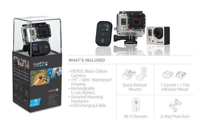 my next expensive photography gift to myself... i wish. lol.  HERO3 Black Edition | Wi-Fi enabled | Most Advanced HD GoPro Ever