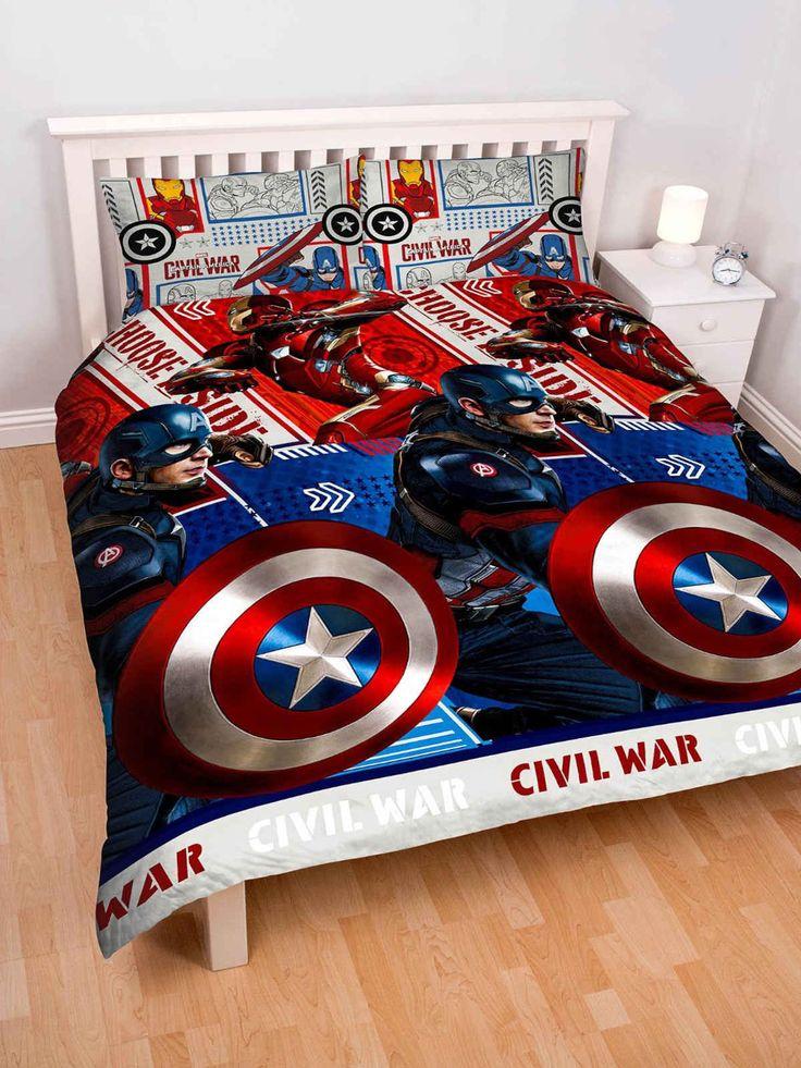 Captain America Civil War Double Duvet Cover Set Polyester
