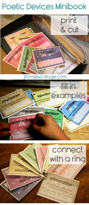 """Free """"Figures of Speech"""" mini posters to download and print {via Jimmie's Collage}: Jimmy Collage, Minis Books, Devices Minibook, Devices Cards, Homeschool Language, Jimmielanley Jimmy, Art Jimmielanley, Language Arts, Poetic Devices"""