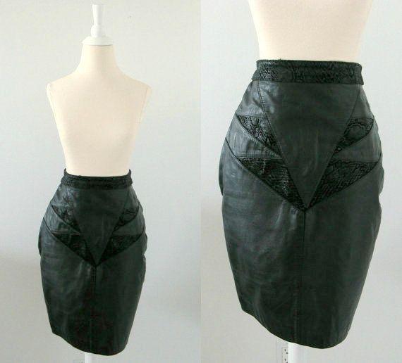 Vintage 1980's Black Leather Pencil Skirt