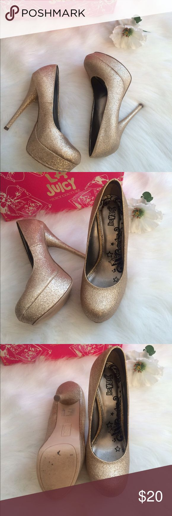 Fabulous Gold glitter Heels These Gold glitter shoes will go fabulous with a prom dress. Very comfortable, easy to walk in, still in great condition! Shoes Heels