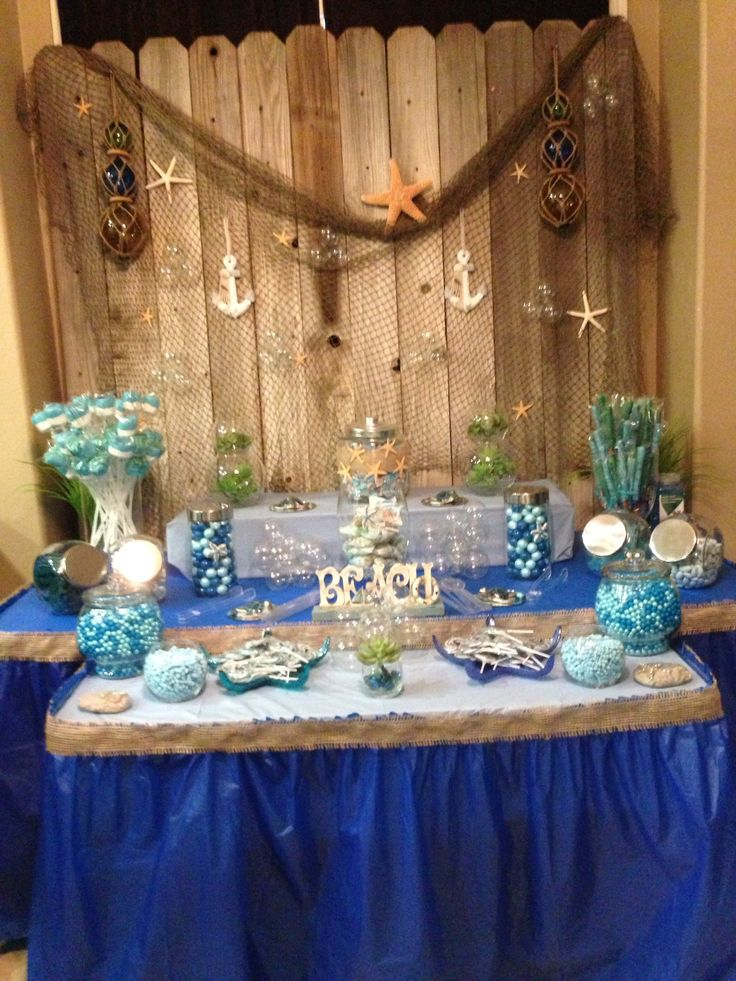 Ocean themed candy bar candy bar ideas pinterest old for Baby shower function decoration