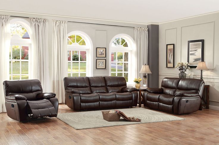 Home Elegance Pecos Collection Power Double Reclining Sofa 8480BRW-3PW
