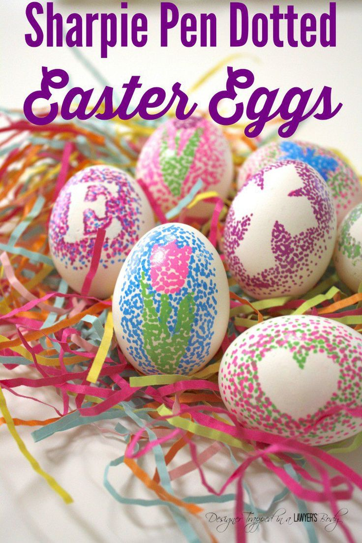THESE ARE AMAZING! What a new,exciting way to decorate Easter eggs! Check out these easy dotted Sharpie Easter eggs tutorial by Designer Trapped in a Lawyer's Body.