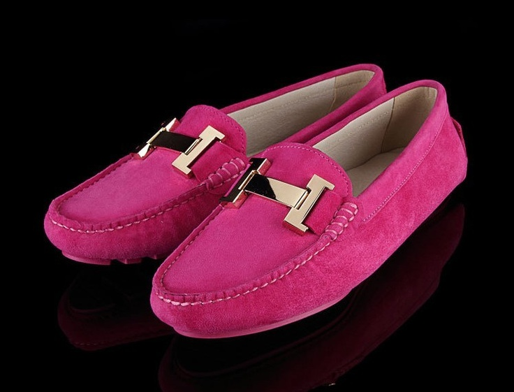 Tods Cowhide Gommino Pink Driving Shoes. This would look great with any of our car floor mats featuring a pink element.
