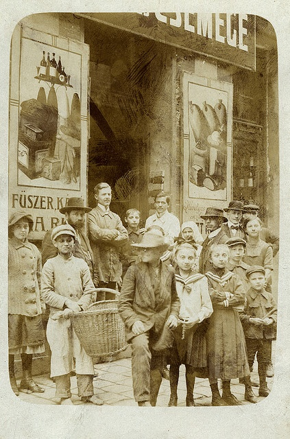 Hungary, in front of the grocery (1920')
